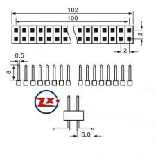 B-PINO-SMD-2 - 2x40x14mm 90° SMD