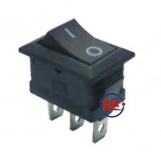 0023 – Chave Gangorra KCD1-102A 3T 2A/8A 250V Preta com marcação