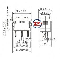 0025 – Chave Gangorra KCD1-103 /B2 3T 6A 250V 3 posições Preta com marcação