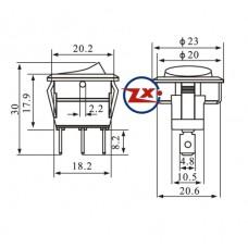0029-21 – Chave Gangorra KCD1-106A 102N com neon 11 RBA 3T 6A 250V vermelha com marcação