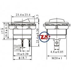 0030-6 – Chave Gangorra KCD1-108-101 2T 10A 250V Preta com rosca