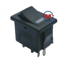 0030 – Chave Gangorra KCD1-105N com neon 4T 6A 250V preta luz az/vd/vm