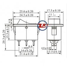0032-1 – Chave Gangorra KCD1-115N com neon 3T 6A 250V com marcação cores: az/vd/vm