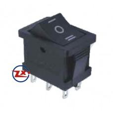 0035 – Chave Gangorra KCD1-203 6T 6A 250V 3 posições preta com marcação
