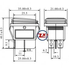 0037-1 – Chave Gangorra KCD2-201N 2W 220V com neon prova d'água com marcação verde