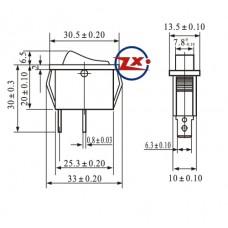 0038-1 – Chave Gangorra KCD3-101 2T 15A 250V com marcação preta