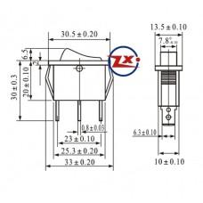 0039 – Chave Gangorra KCD3-102 3T 15A/30A com marcação preta