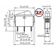 0040 – Chave Gangorra KCD3-102N 3T 15A30A 250V sem marcação cores: verde ou vermelha