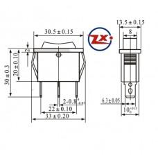 0041 -  Chave Gangorra KCD3-103 3T 15A/30A 250V 3 posições com marcação preta