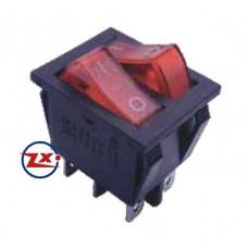 0042 – Chave Gangorra KCD3-202N com neon 6T 15A 250V com marcação vermelha