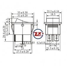 0043-1 – Chave Gangorra KCD4-201C 4T 15/30A 250V sem marcação preta