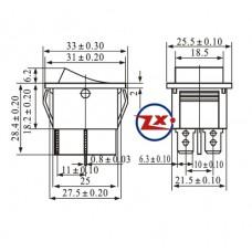 0043-2 – Chave Gangorra KCD4-201C 4T 15/30A 250V sem marcação pulsante verde