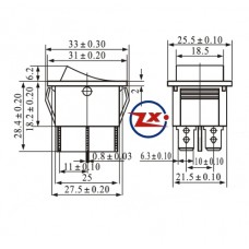 0043-3 - Chave Gangorra  KCD4-202C 15/30A 250V 6T c/ marcação preta