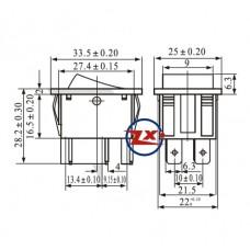 0046 – Chave Gangorra KCD4-203/RN 6T 15A 250V 3 posições com marcação preta
