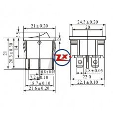 0047 – Chave Gangorra KCD5-201 6T 6A/12A 250V com marcação preta