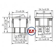 0049 – Chave Gangorra KCD5-203  6T 6A/12A 250V com marcação 3 posições preta