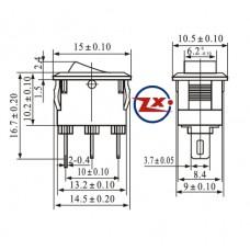 0054 – Chave Gangorra KCD11-102 3T 3A 250V c/ marcação preta