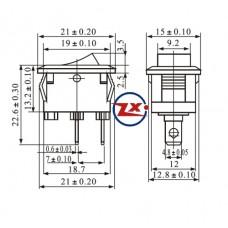 0055-4 – Chave Gangorra KCD11-102 NF 2T 3A 250V c/ marcação pulsante preta