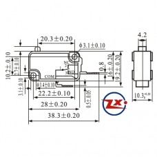 0065-5 - Chave Micro Switch - KW11-7-1 N/A - Cinza / Preto