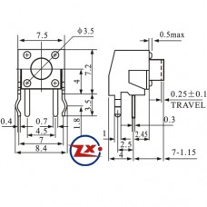 0079 - Chave Tactil - KFC-A06-W1-6,5 4T 90° / KFC-A06-W1-7 4T 90°