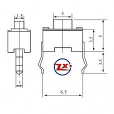 0087-10 -  Chave Tactil - KFC-A06-3X6X5 180° Preto
