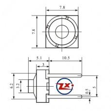 0088-1 - Chave Tactil - KLT-113 Tactil Borracha 8x8 2 Pinos 180° Cinza
