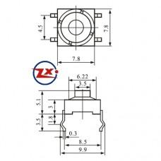 0088-2 - Chave Tactil - KLT-112 Tcatil Borracha 8X8 4 Pinos 180° Cinza