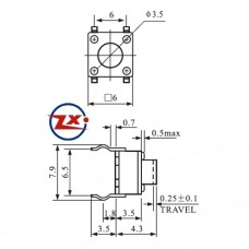 0089-2 - Chave Tactil - KFC-A06-6X6X4,3 SMD 4T 180°