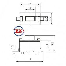 0091 - Chave Tactil - KFC-A06-3X6X4,3 SMD 2T 180° Pt Vm
