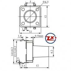 0093-12 - Chave Tactil - KFC-A06 12X12X12 4T 180°
