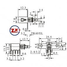 0148-1 - CHAVE TECLA - PS-22F06 COM E SEM TRAVA VERMELHO
