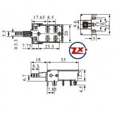 0159-2-22 - Chave Tecla - KDC-A13-1 4T com Base para PCI