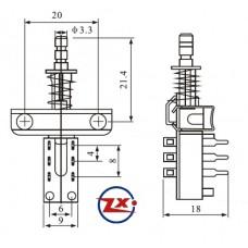 0163 -1 Chave Tecla - KZJ1 2X2 sem Trava