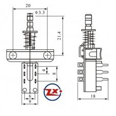 0163 - Chave Tecla - KZJ 2X4 com Trava sem Trava
