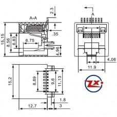 YH-01 5227 8P8C - CONECTOR JACK SMD