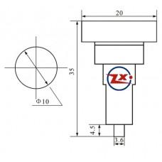 0165-3 - Sinalizador (Olho de Boi) - XD10-7 12V 24V 110/220V - Vermelho / Verde / Amarelo / Azul