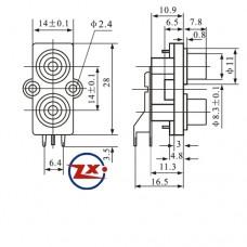 0204-13 - TOMADA RCA - AV2-8,4-7 - Branco / Amarelo T-Br