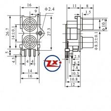 0204-14-2 - TOMADA RCA - av2-8,4-9 Vermelha / Branca - T-Vm