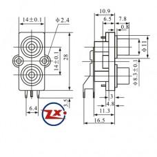 0204-15 - TOMADA RCA - AV2-8,4-7 Branco Vermelho T/Br