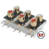 0205-54 - TOMADA RCA - AV6-8,4-9 Dourado Vermelho Branco - T-Vm